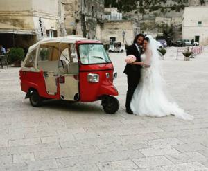 Matrimonio in ape calessino a Matera