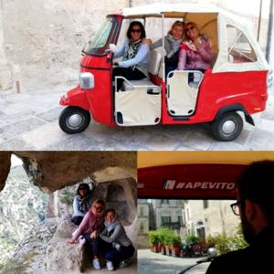 Ape tour Matera in calessino piaggio